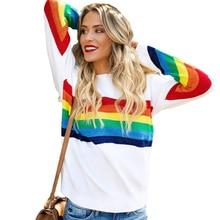 Mode femmes col rond t-shirt à manches longues mode arc-en-ciel imprimé tricoté pull ample t-shirt décontracté Streetwear haut