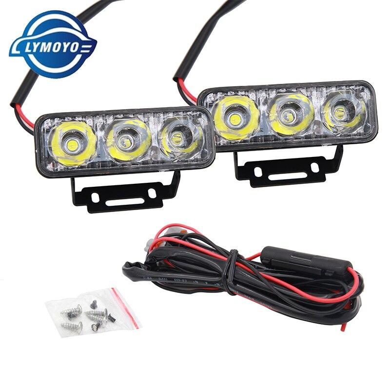 DRL led para coche de alta potencia 3Led 9W fuente de luz de coche impermeable luz de día DC12V Luz de circulación diurna lámpara de luz de coche tira blanca