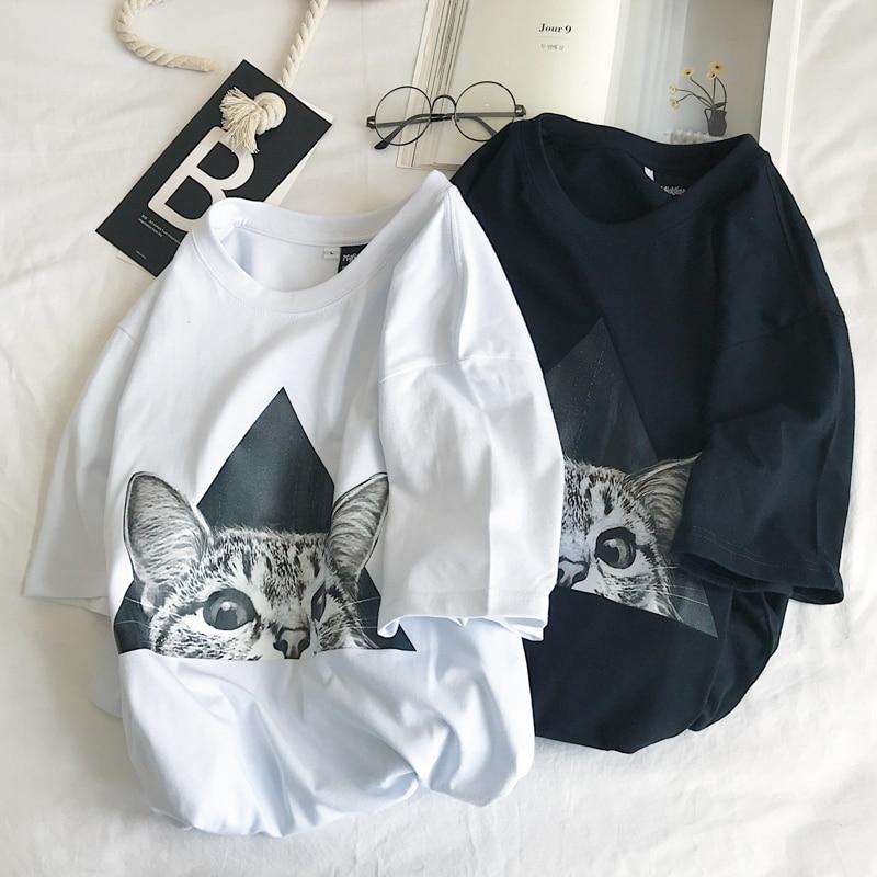 Gato mirando impresión mujeres Camiseta de algodón Casual divertido t camisa para mujer chica Tee superior 901002