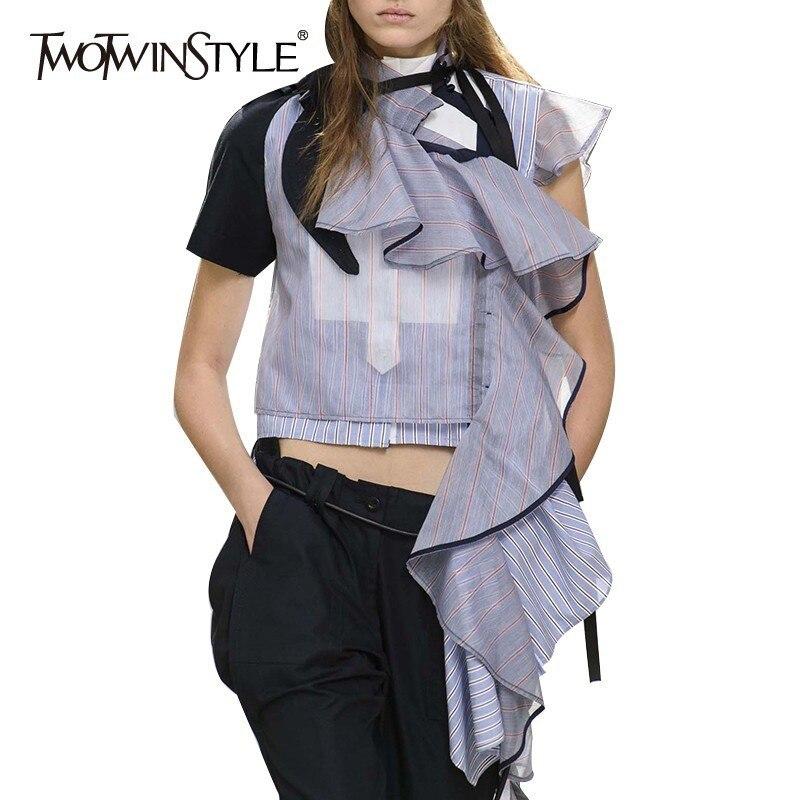 TWOTWINSTYLE Sommer Gestreiften Frauen Bluse Stehkragen Kurzen Unregelmäßigen Rüschen Hit Farbe Patchwork Shirt Weibliche Mode 2020 Neue