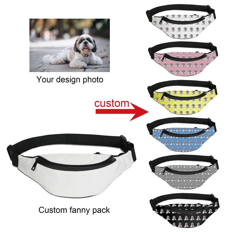 1pc Personalized waist packs Custom Printing Running Waist Bag Men Hip Belt Fanny Pack Women Phone Zipper Pouch Unisex Chest Bag