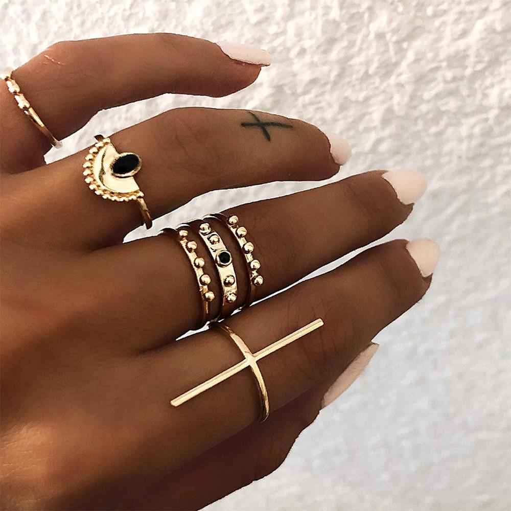 Beijo esposa nova moda 6 pçs/set geométrico padrão anel conjunto boêmio simples feminino jóias presente para o aniversário uma venda direta