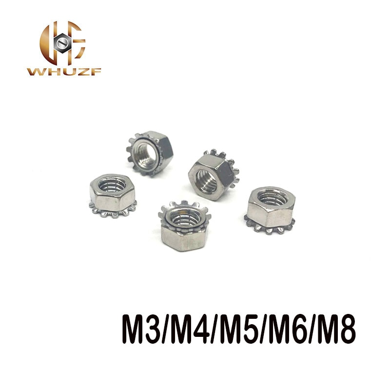 M3 M4 M5 M6 M8 K-tipo K-tuerca de acero inoxidable 304 Keps loco dientes Polydentate hexagonal tuerca