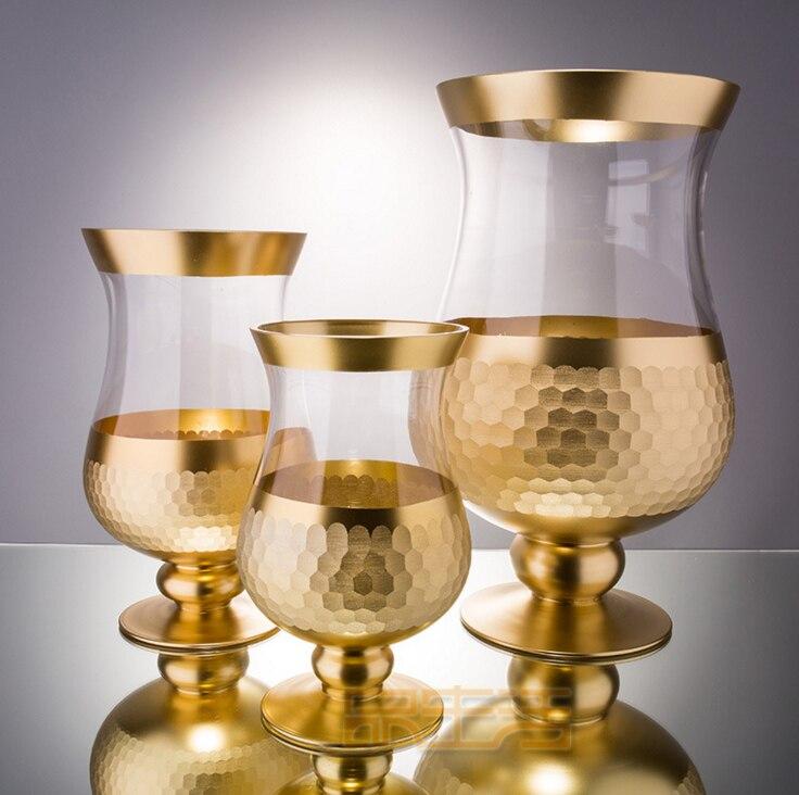 Alemán 22K dorado vidrio de cristal grabado a mano de alto pie plato de fruta florero de vidrio y lámpara de viento plantilla habitación