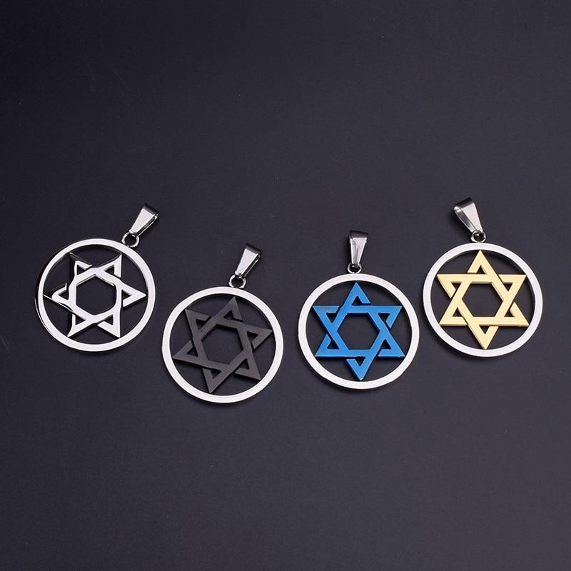 SOITIS Wholesales Magen Star of David Round Pendant Israel Jewish Judaica Jewelry Necklace Stainless Steel Round Pendants Chain
