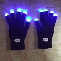 Rainbow Flash Fingertip LED Gloves Unisex Light Up Glow Stick Gloves Mittens