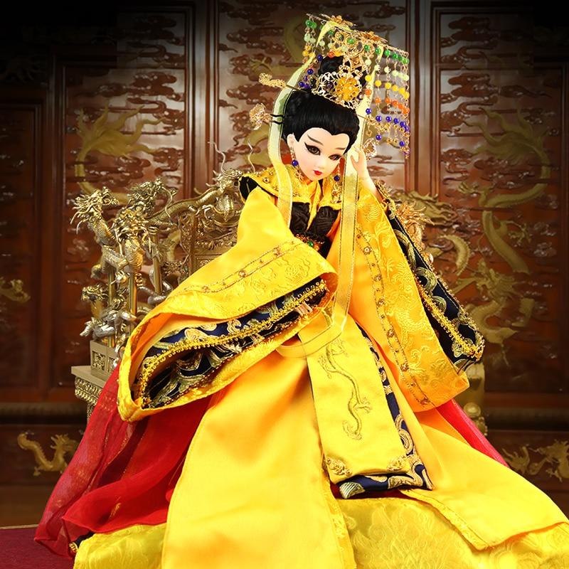 Muñecas chinas tradicionales de gama alta, muñeca Oriental con 14 articulaciones, serie movible emperatriz Wu Zetian para colección