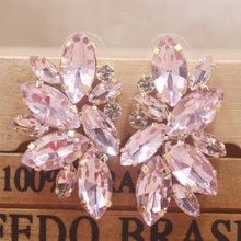 Zerong PInk rhinestone stud earring gold crystal earring silver rose women earring blue/red/ wedding /party deoration earring