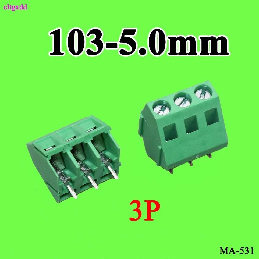 Cltgxdd 10 pces parafuso pcb bloco terminal 103 5.0mm kf 103-5.0mm 103-5.0 KF103-5.0MM 2p 3p 5.0mm