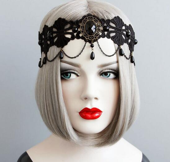 Recién llegado, cintas para el pelo de encaje negro para mujer con colgante de ondas, diadema estilo punk vintage para chica para fiesta, accesorios para el cabello con diamantes de imitación