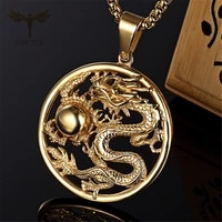 auspicious dragon pendant hollow design vintage men women gold silver color stainless steel jewelry mascot ornaments lucky gifts