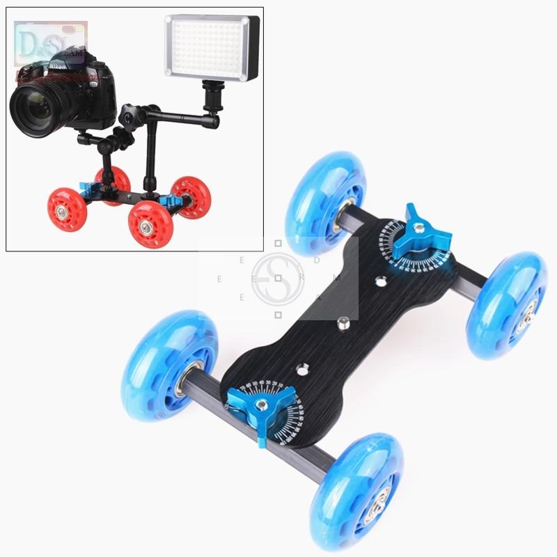 Azul Mesa compacto Dolly Skater Kit de rueda camión para vídeo DSLR 5D2 1100d d7000 D800 600d PT054