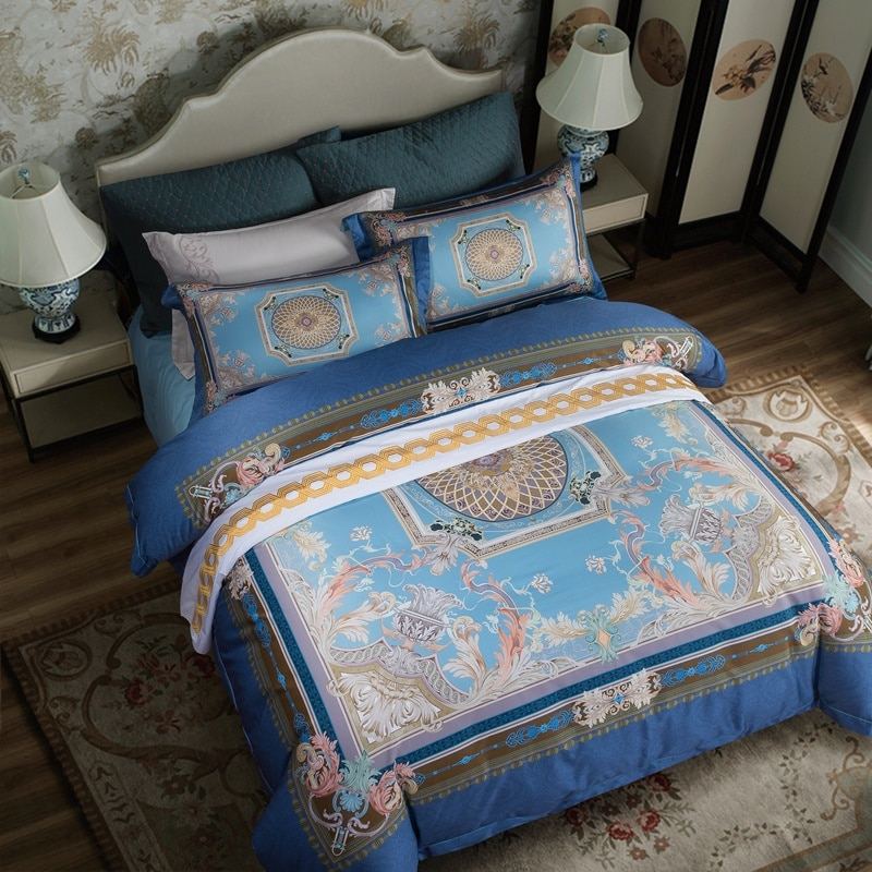 Edredón Posodono 4 Uds de lujo con mandala nórdico, fundas para edredón 100S 100%, cobertura de cama campestre de algodón egipcio puro, tamaño king size