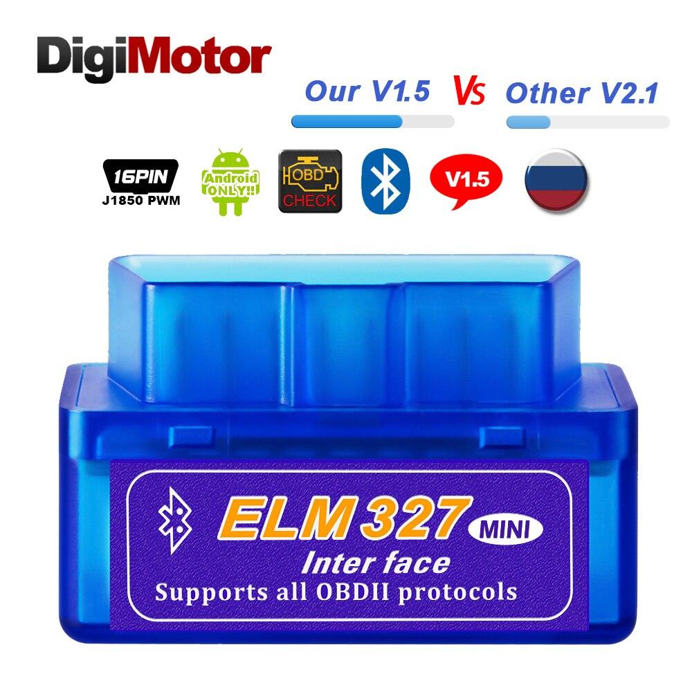 Настоящее ELM327 V 1,5 ELM 327 Bluetooth OBD2 v1.5 android-автомобильный сканер автомобильной БД 2 инструмент диагностики авто OBDII сканер лучше V2.1