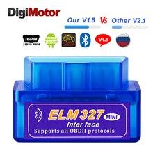 Автомобильный диагностический сканер реального ELM327 V1.5 ELM 327 Bluetooth OBD2 v1.5 Android, автомобильный диагностический инструмент OBD 2, сканер scania V2.1