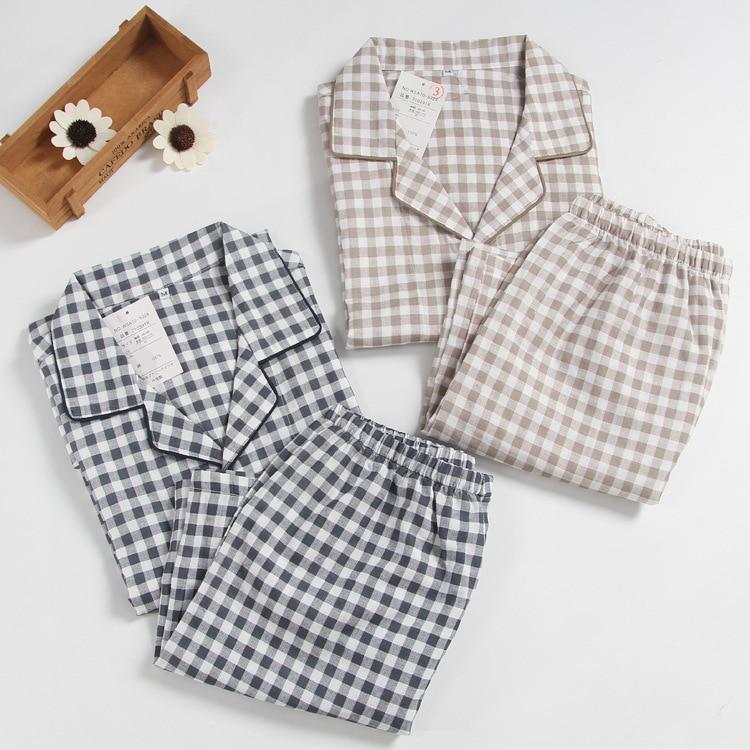 Mens Short-sleeved Summer Cotton Yarn Nightwear Plaid Turn-down Collar Men Pajama Sets Plus Size Pijama Pajamas Sleeping Suits