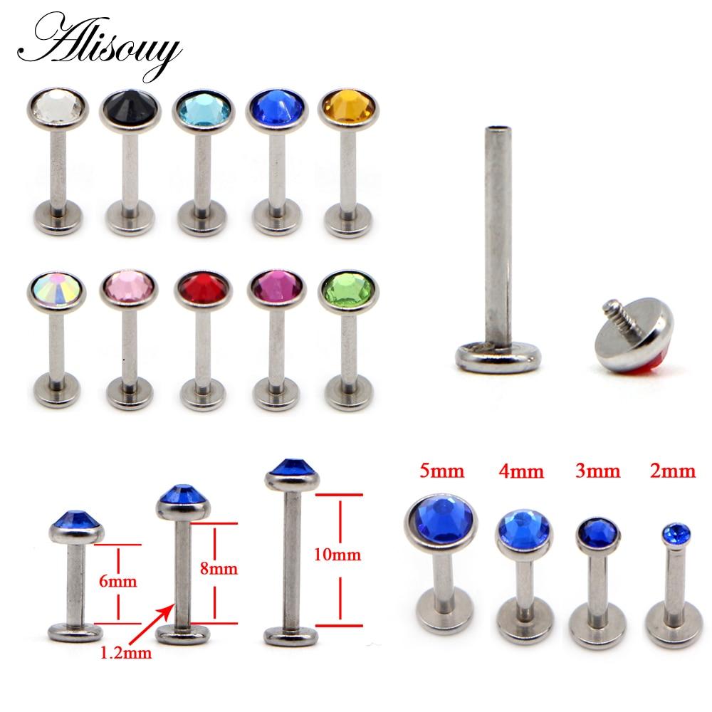 Alisouy, 1 pieza, pendiente de acero inoxidable plano, 2/3/4/5mm, Gema de cristal, 16G, Piercing Labret para labio anillos para el trago, hélice, pendiente de tuerca, joyería corporal