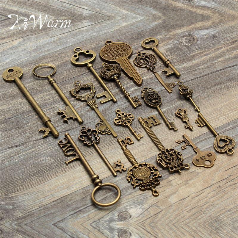 Kiwarm 18 pçs antigo vintage olhar esqueleto chave pingente coração arco bloqueio colar diy artesanato ornamento