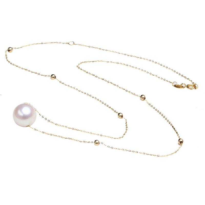 Sinya collar gargantilla de oro de 18k con perlas redondas naturales de 7,5-10mm y cuentas de oro de 3mm Au750 longitud de la cadena de oro 45cm para las mujeres
