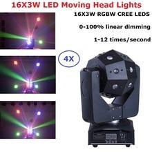 4 Unit 16X3W RGBW 4IN1 LED Wash Moving Head Light LED Stage DJ Beam Lights Super Bright Cubix Moving Head Lights DHL Shipping