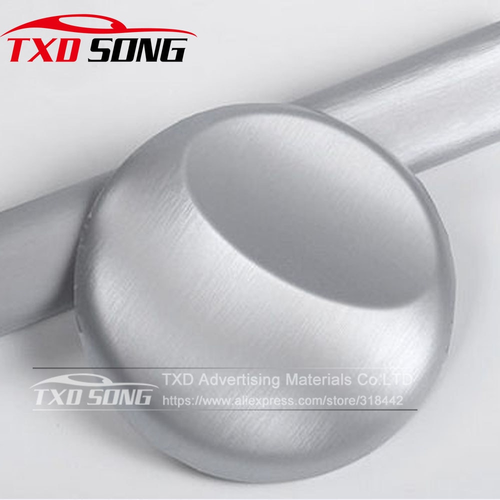 Cay Styling Cinza cinza Metálico de Alumínio Escovado Vinil Película do Envoltório do carro de vinil adesivo de carro de Metal Com Tamanho: 10/20/30/40/50/60x152CM