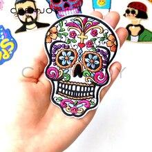 Patch brodé crâne blanc du mexique   Écusson en sucre brodé pour vêtements, appliques pour vestes de motard, Patch vêtements autocollants Badges