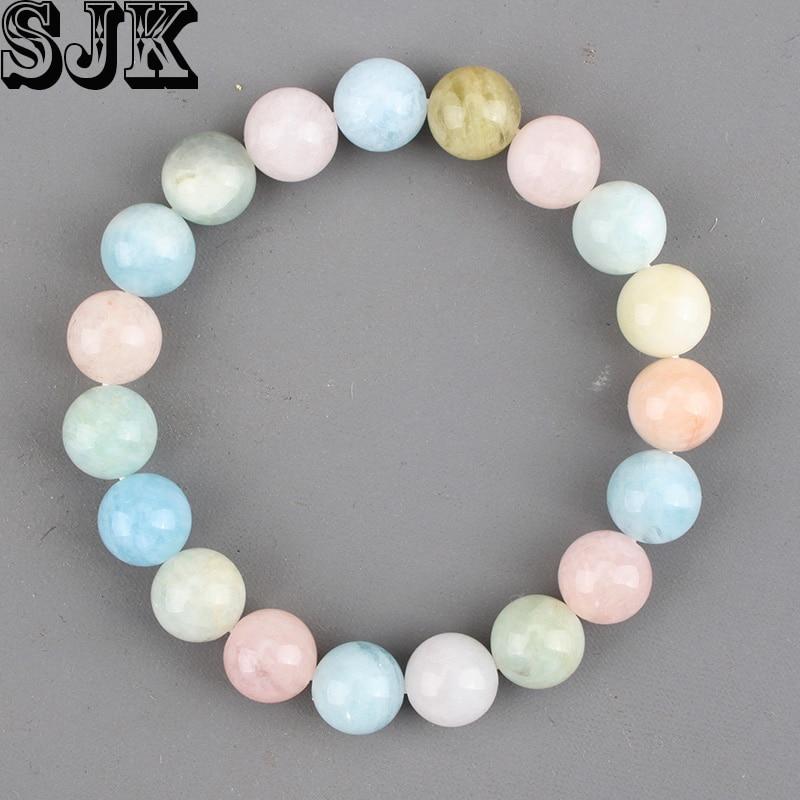 Women Natural Stone Beads Bracelet Mixed Color Morganite Gem stone Loose Round Beads 4 6 8 10 12mm Healing Bracelet Gifts