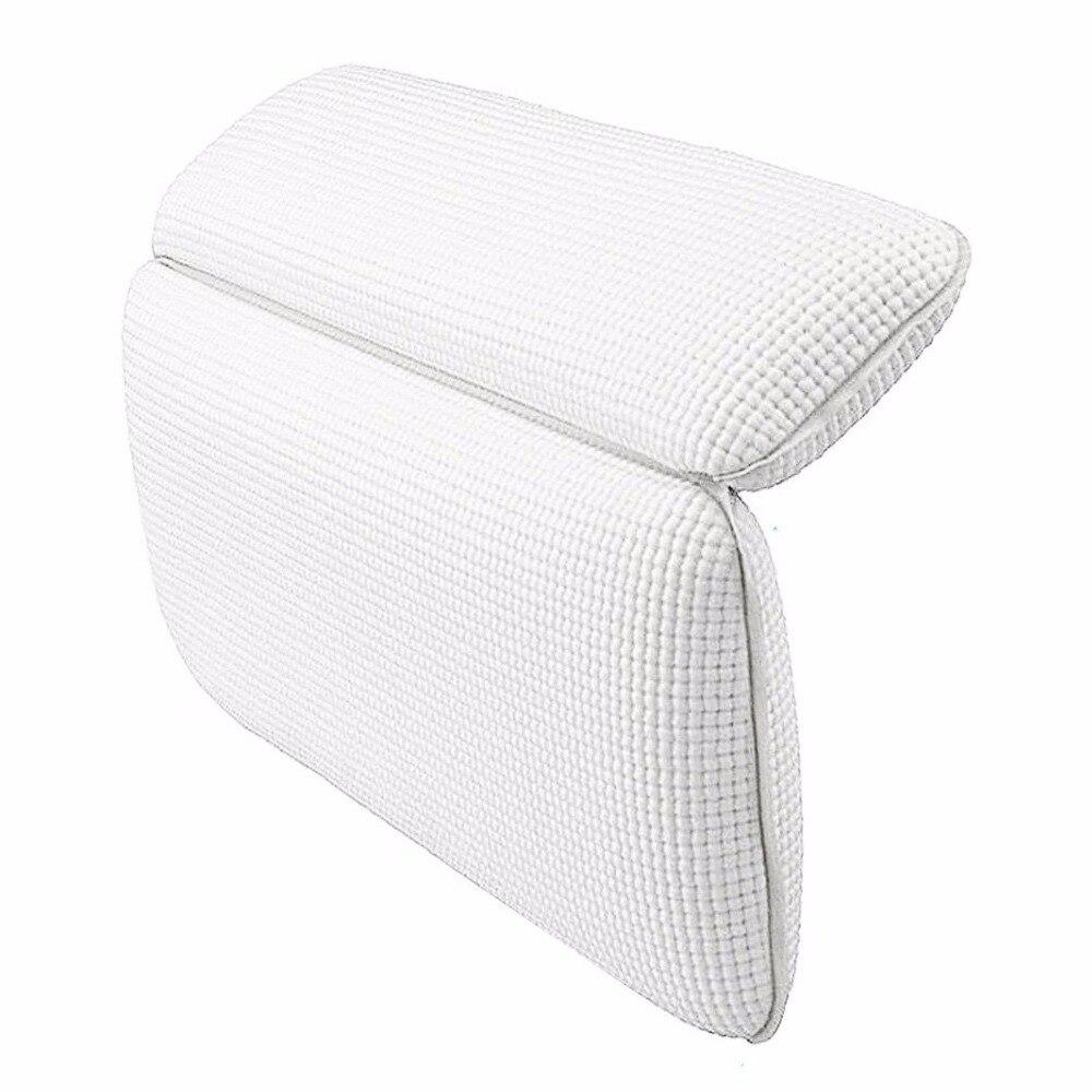 Almohada de baño antideslizante, almohada impermeable para bañera de Spa, almohadilla de baño cómoda para descanso del cuello, soporte trasero (blanco)