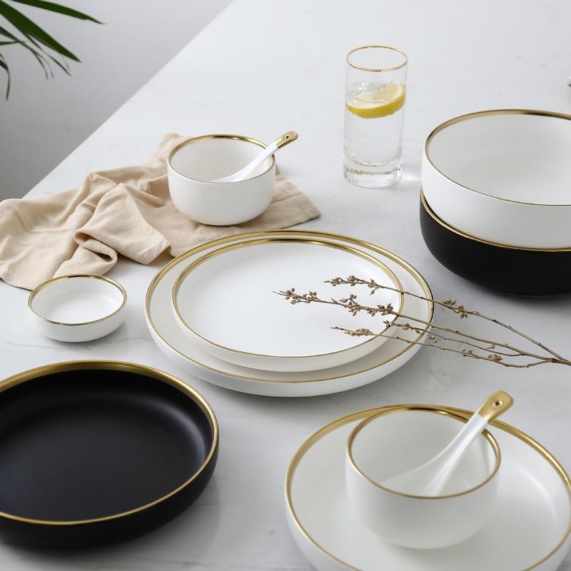 Керамическая золотая инкрустация белые черные тарелки стейк еда блюдо в скандинавском стиле посуда миска Инс обеденная Тарелка фарфоровая...