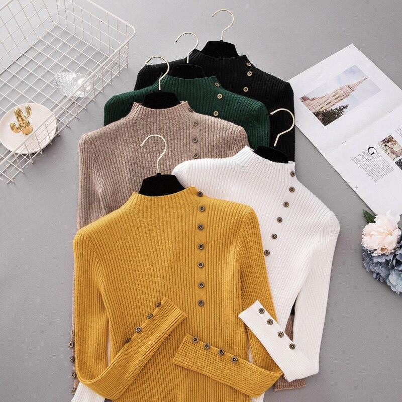 INS otoño moda botón cuello alto suéter camisas mujeres sólido tejido Jersey ldies Slim Soft Jumper suéter mujer Knit Tops