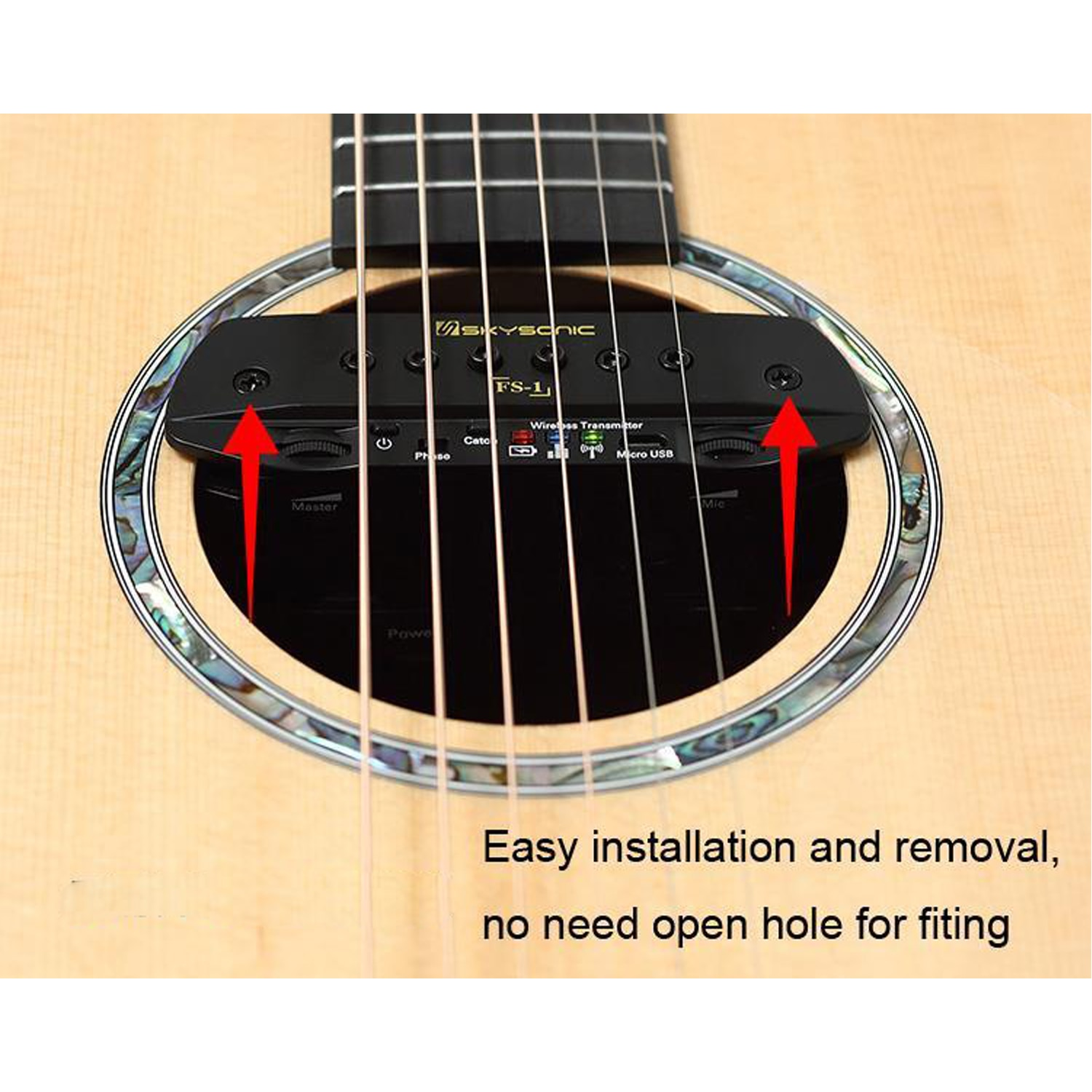 Skysonic FS-1 folk acoustic guitar  active pickup wireless accessories free opening hole playing stage soundtrack Free Shipping enlarge