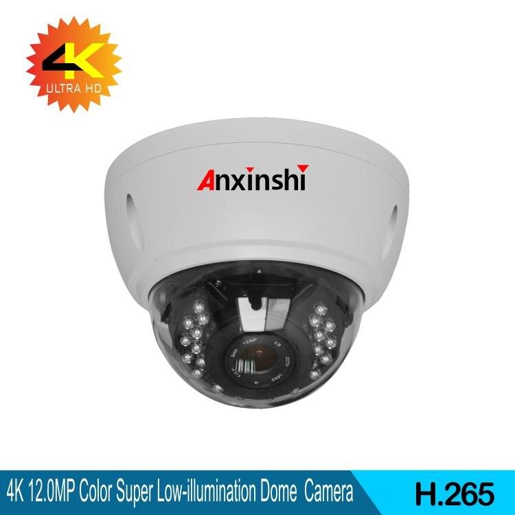 Caméra IP couleur 4K anti-vandalisme SonyIMX226 + HI3519A caméra IP 1/1.8varifoal 3.6-11mm 4K objectif grand angle IK10 dôme caméra IP IP66
