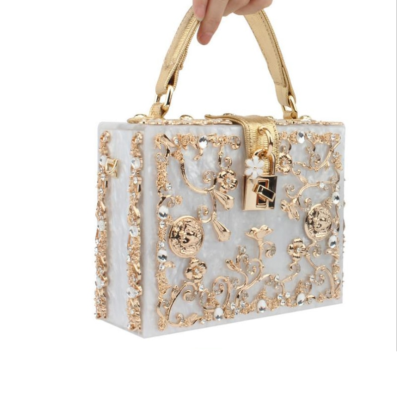 Women Box Acrylic Handbag Brand Designer Metal Flower Small Shoulder Bag Female Evening Wedding Party Clutch Purse Two Straps