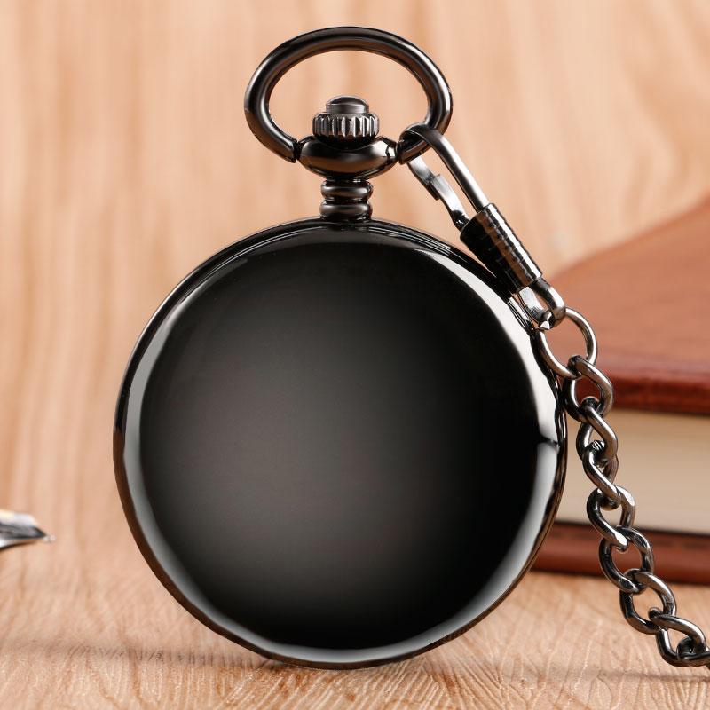 Reloj de bolsillo mecánico liso con números romanos de doble cara Retro, relojes con cadena, relojes de regalo de Navidad