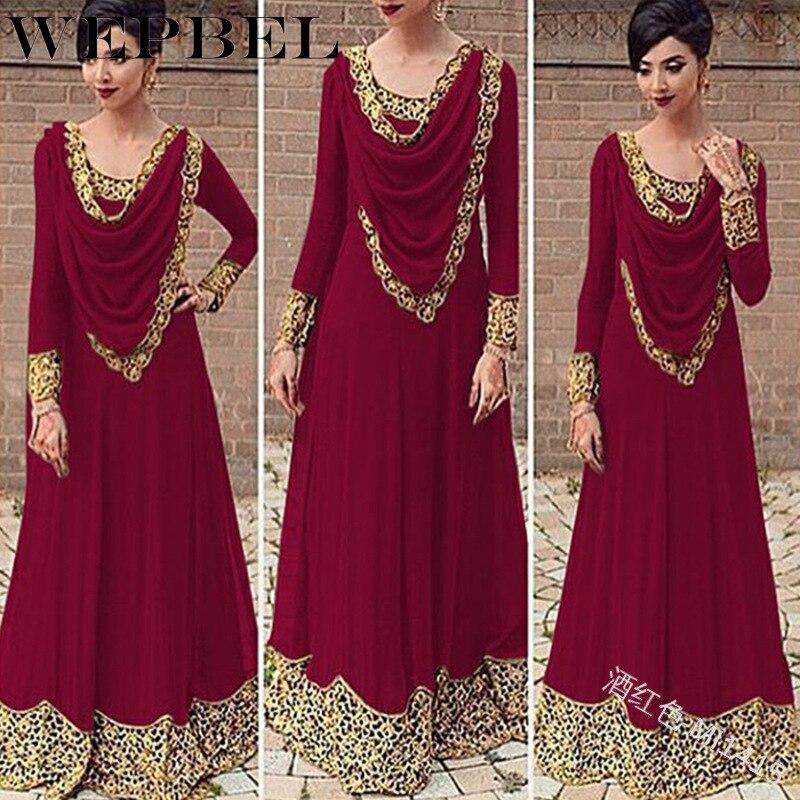 Wepbel muçulmano vestido islam feminino elegante magro formal vestido casual cor sólida manga longa heap collar maxi vestido plus size S-5XL
