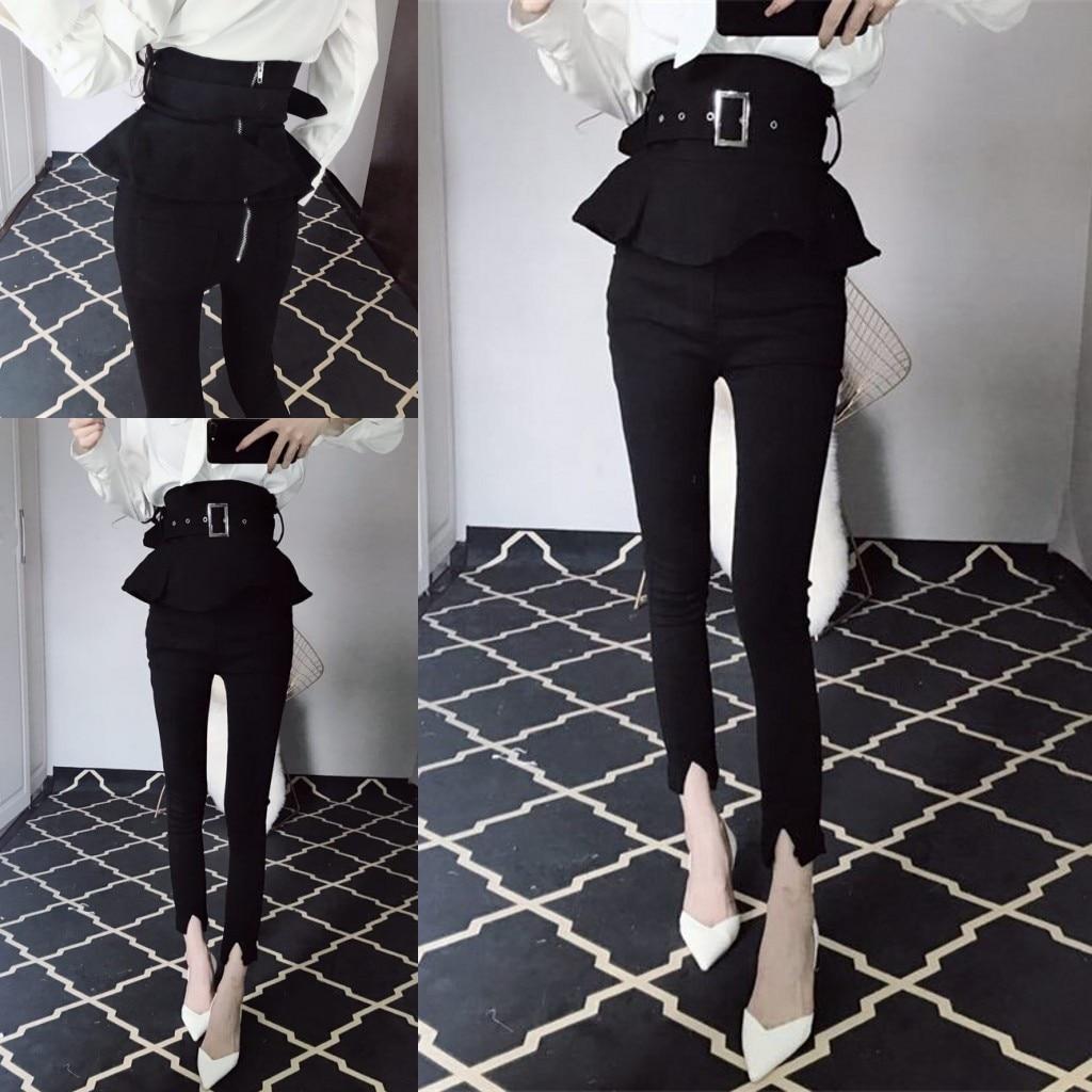 Streetwear pantalones de moda de mujer de cintura alta volantes Peplum Skinny pantalones túnica cremallera negro elegante Pantalones Mujer