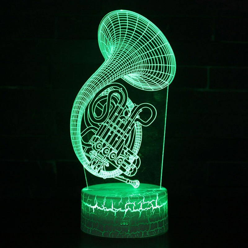 Instrumento musical cuerno tema 3D lámpara LED luz de noche 7 colores cambio Touch Mood lámpara Navidad Presente Dropshippping