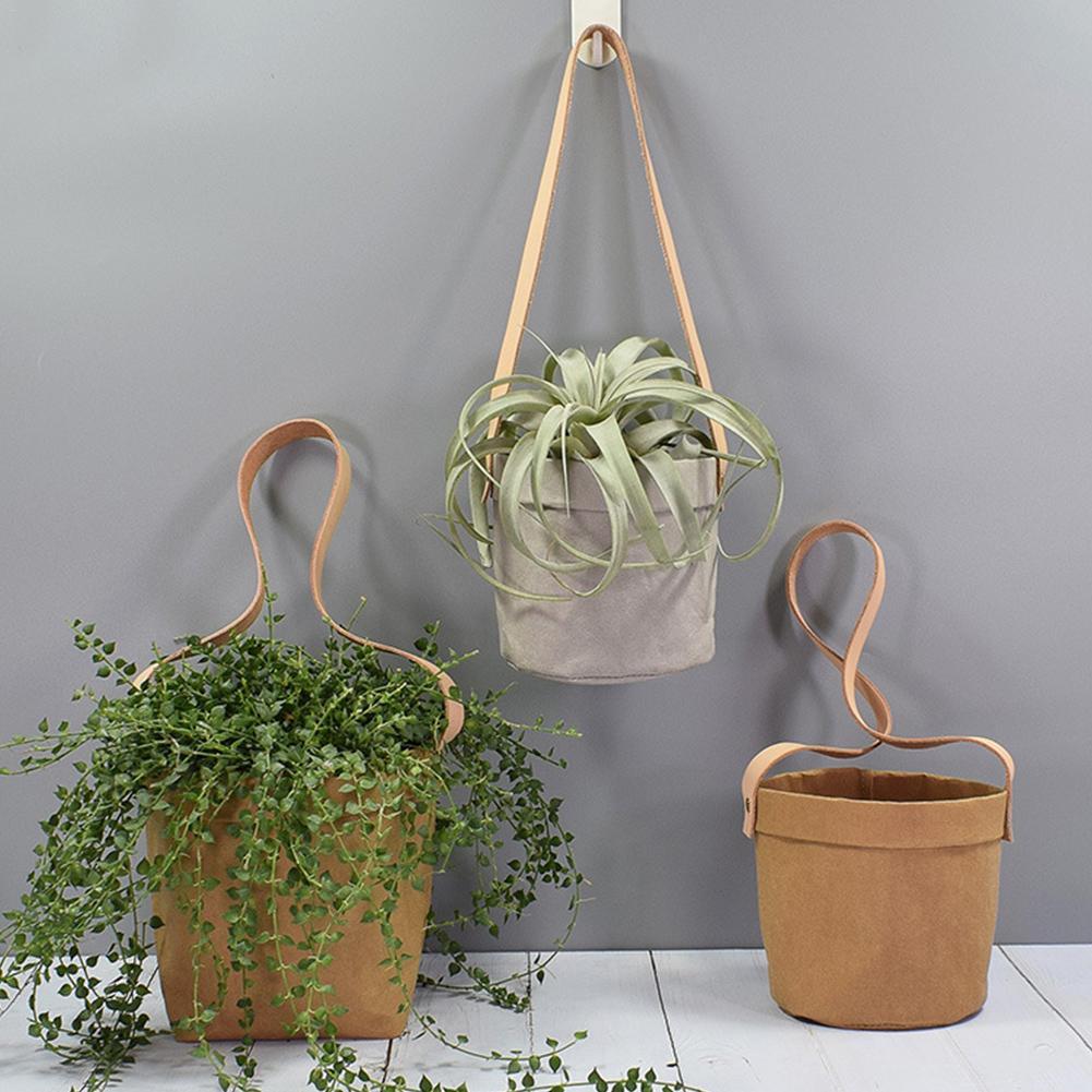 Инновационные крафт-бумаги Висячие цветочные горшки с кожаным ремешком для орхидеи воздуха ананаса растений суккуленты украшения сада