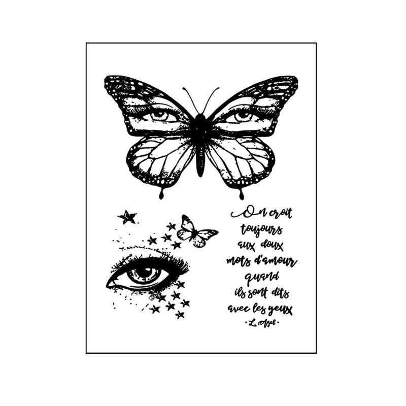 Mariposa ojos sello claro para Scrapbooking goma de silicona transparente DIY decoración de álbum de fotos