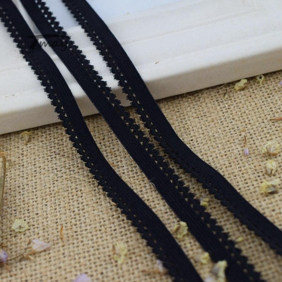 #275 bandas elásticas de color negro puro para Calzoncillos largos, sujetador de tela de encaje, bandas de goma de borde elástico, cinta de correa de Nylon DIY