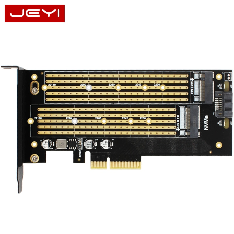 JEYI SK7 Server M.2 NVMe SSD NGFF SATA ZU PCIE3.0 X4 4X adapter M Schlüssel B TASTE Dual Port karte PCI-E3.0 Dual spannung 12 V + 3,3 V U.2