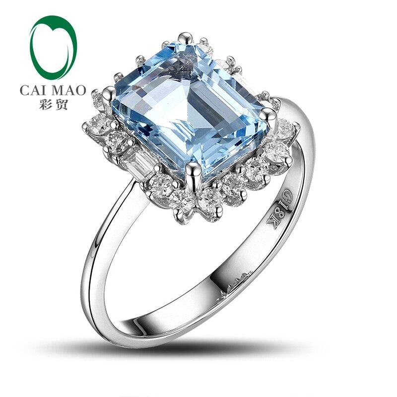 Caimao 14CT oro Natural azul envío gratis CT anillo de compromiso de diamantes de Aguamarina