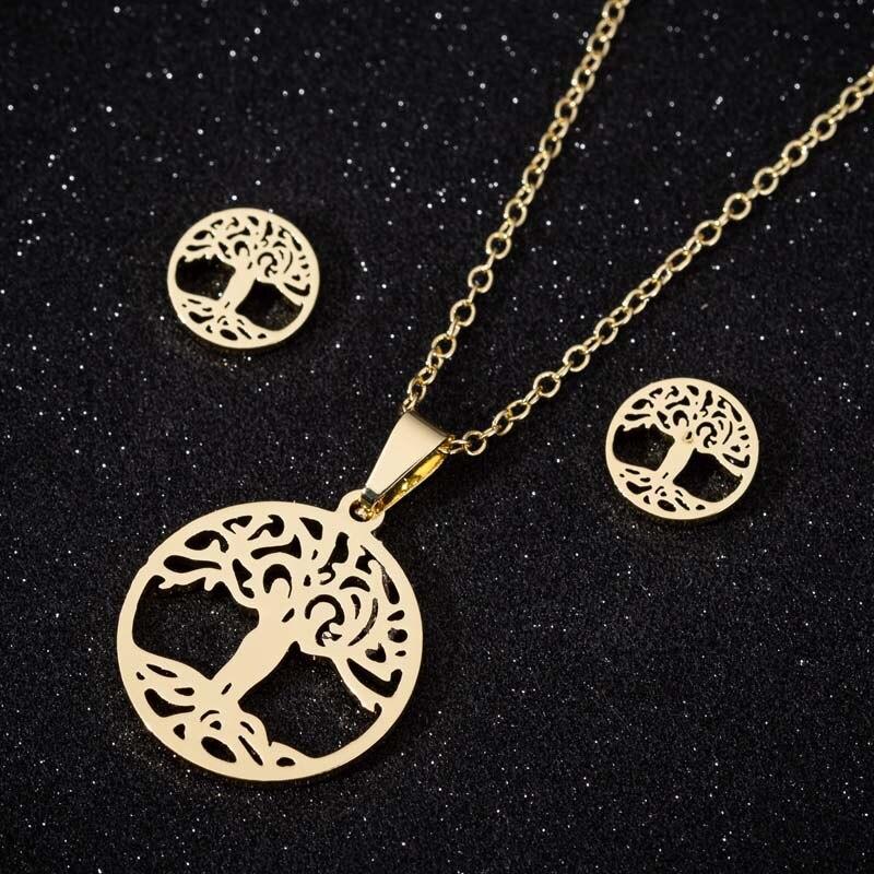 Gargantilla de árbol de la vida de acero inoxidable Oly2u, conjunto de collares para mujeres, pendientes de tuerca, Collar, conjuntos de joyería, regalo de fiesta