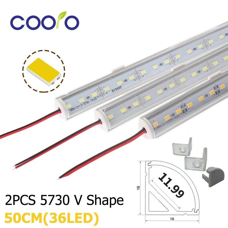 2 шт./лот 50 см Светодиодная панель 5730 в форма Угловой алюминиевый профиль с изогнутой крышкой, настенный угловой светильник DC12V, светодиодная лампа для шкафа