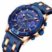 Men's Sports Chronograph Quartz Wrist Watches BIDEN Army Silicone Waterproof Stopwatch Relojios Masculinos Man Clock