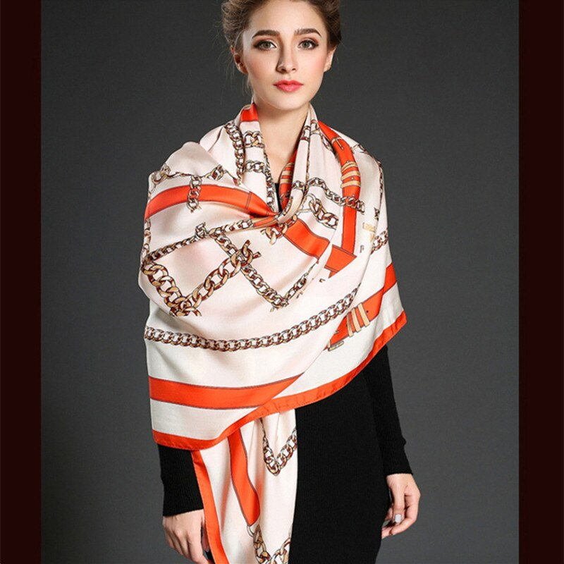Twill Silk Women Scarf 130*130 Geometric British Style Belt Print Square Scarves Wraps Brand Gift Fashion Large Silk Shawls