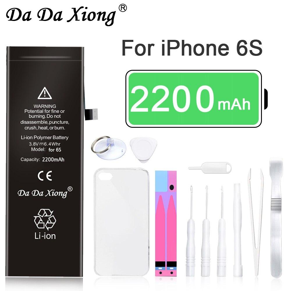 Bateria de lítio quente da da xiong para o iphone 6s 6gs bateria de substituição interna bateria 2200mah pacote de varejo para apple