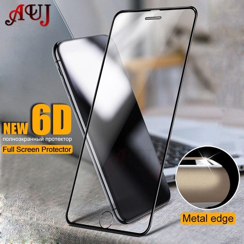 AUJ 6D vidrio Protector para iPhone 6 6s 7 8 Plus Protector de pantalla funda completa templada de cristal para iPhone 7 8 5 5S X vidrio