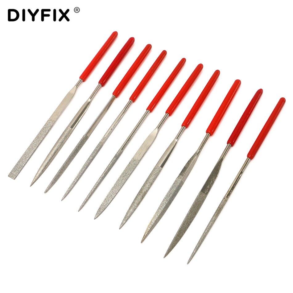 """DIYFIX 10 Uds. 5,5 """"140mm diamante Mini aguja limas Set herramientas prácticas para cerámica vidrio piedra joyeros madera tallado aficiones de artesanías"""
