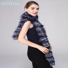 ¡Novedad! bufanda de piel de zorro natural de invierno para mujer, bufanda de piel de zorro de retales largos plateados